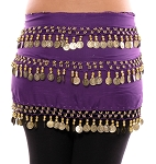 3-Row Straight Design Classic Belly Dance Coin Hip Scarf - PURPLE GRAPE / GOLD