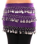 3-Row Straight Design Classic Belly Dance Coin Hip Scarf - PURPLE GRAPE / SILVER