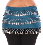 Plus Size 1X - 4X Chiffon Belly Dance Hip Scarf Sash with 3 Rows of Coins - TEAL BLUE / SILVER