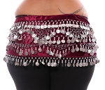 Plus Size 1X - 4X VELVET Belly Dance Coin Hip Scarf Belt - BURGUNDY / SILVER