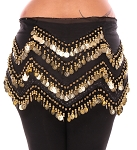 Plus Size 1X - 4X Long Belly Dance Zig-Zag Coin Hip Scarf Skirt - BLACK / GOLD