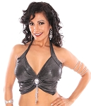 Elegant Metallic Belly Dance Fusion Halter Top with Jewel & Fringe - SHINY BLACK