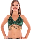 Velvet Belly Dance Costume Top with Beads and Coins - GREEN / GOLD