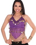 Sheer Chiffon Belly Dance Halter Top with Coins - PURPLE GRAPE / GOLD