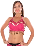 Chiffon Costume Top with Coins - DARK ROSE PINK / GOLD