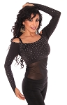 Long Sleeve Off-the-Shoulder Top with Gems and Mesh Belly Cover - BLACK
