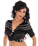 Velvet Middle Eastern Folkloric Dance Top with Coins - BLACK / SILVER