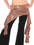Asymmetric Belly Dance Fusion Costume Ruffle Overskirt - MOCHA / METALLIC GOLD