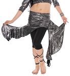 Asymmetric Belly Dance Fusion Costume Ruffle Overskirt - LIQUID METAL