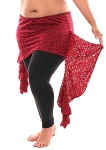 Asymmetric Lace Belly Dance Fusion Overskirt with Side Ruffles - DARK RED