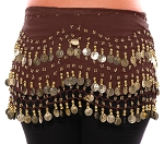 Chiffon Belly Dance Hip Scarf with Beads & Coins - CHOCOLATE BROWN / GOLD