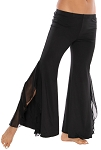 Comfortable Fusion Dance Pants with Ruffled Side Slits - BLACK