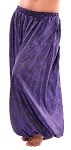 Brocade Full Pantaloons Tribal Harem Pants - PURPLE / BLACK