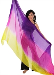 Ombre Silk Tie Dye Bellydance Veil - PURPLE / FUCHSIA / YELLOW