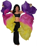 Silk Fan Veils Belly Dance Prop (Set of 2) - PURPLE / FUCHSIA / YELLOW
