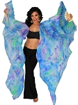 Silk Fan Veils Dance Prop (Set of 2) - Tie Dye RAINFOREST