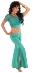 2-Piece Ruffle Slit Pants Yoga Dance Outfit - GREEN TURQUOISE