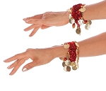 Sequin Stretch Bracelets with Coins (PAIR) - RED / GOLD