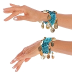 Sequin Stretch Bracelets with Coins (PAIR) - TURQUOISE / GOLD