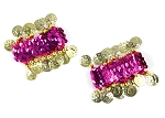 Sequin Stretch Bracelets with Coins (PAIR) - FUCHSIA / GOLD