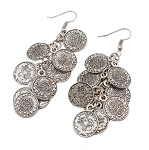Belly Dance Jewelry Coin Dangle Earrings - SILVER