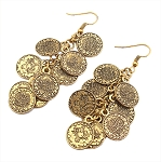 Belly Dance Jewelry Coin Dangle Earrings - GOLD