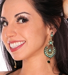 Arabian Nights Rhinestone & Crystal Earrings - GREEN / TURQUOISE