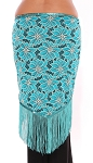 2-Tone Lace Shawl Hip Scarf with Fringe - TURQUOISE