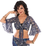 2-Tone Lace Bell Sleeve Tribal Belly Dance Choli Top - BLUE