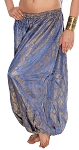 Brocade Full Pantaloons Tribal Harem Pants - BLUE / GOLD