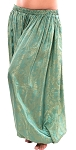 Brocade Full Pantaloons Tribal Harem Pants - GREEN / GOLD