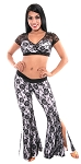 2 -Layer Lace Tribal Fusion Belly Dance Costume Set - BLACK / WHITE