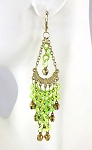 Sparkling Sequin Belly Dance Earrings with Bells - LIME / GOLD