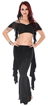 Tribal Fusion Belly Dance Ruffle Pants Costume Set - BLACK