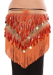 Tie-Dye Triangle Hip Scarf with Teardrop Paillettes, Fringe, & Coins - AUTUMN ORANGE