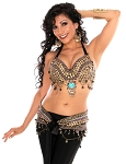 2-Piece Arabia Coin Belly Dance Costume Bra & Belt Set