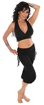 Tribal Fusion Belly Dance Outfit with Ruched Skirt Capri Pants - BLACK