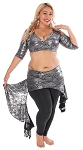 2-Piece Belly Dance Fusion Choli and Overskirt Set - METALLIC LIQUID METAL