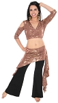 2-Piece Belly Dance Fusion Choli and Overskirt Set - MOCHA / METALLIC GOLD