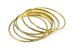 Belly Dance Jewelry - Set of 6 High Quality Embossed Gold Bangles