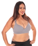 Plus Size Seamless Racerback Push up Bra - HEATHER GREY