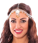 Belly Dance Medallion Head Piece with Bells and Glass Charms - SILVER / AMBER