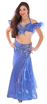 Floral Belly Dance Costume with Rhinestone Accents - BLUE