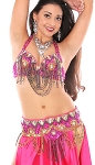Sequin and Beaded Belly Dance Costume Bra and Belt Set with Rhinestones - FUCHSIA