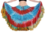25 Yard TIE DYE Tribal Gypsy Dance Skirt - RAINBOW