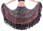 25 Yard Embroidered Tribal Shisha Skirt - BLACK / MULTI