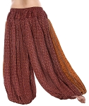 4.5 Yard Full Pantaloon Harem Pants with Geometric Print- BURNT SIENNA