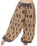 4.5 Yard Full Pantaloon Harem Pants with Paisley Pattern - CREAM / MULTI