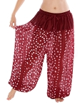 Jaipur Print Cotton Tribal Harem Pants - BURGUNDY