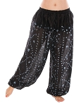 Jaipur Print Cotton Tribal Harem Pants - BLACK